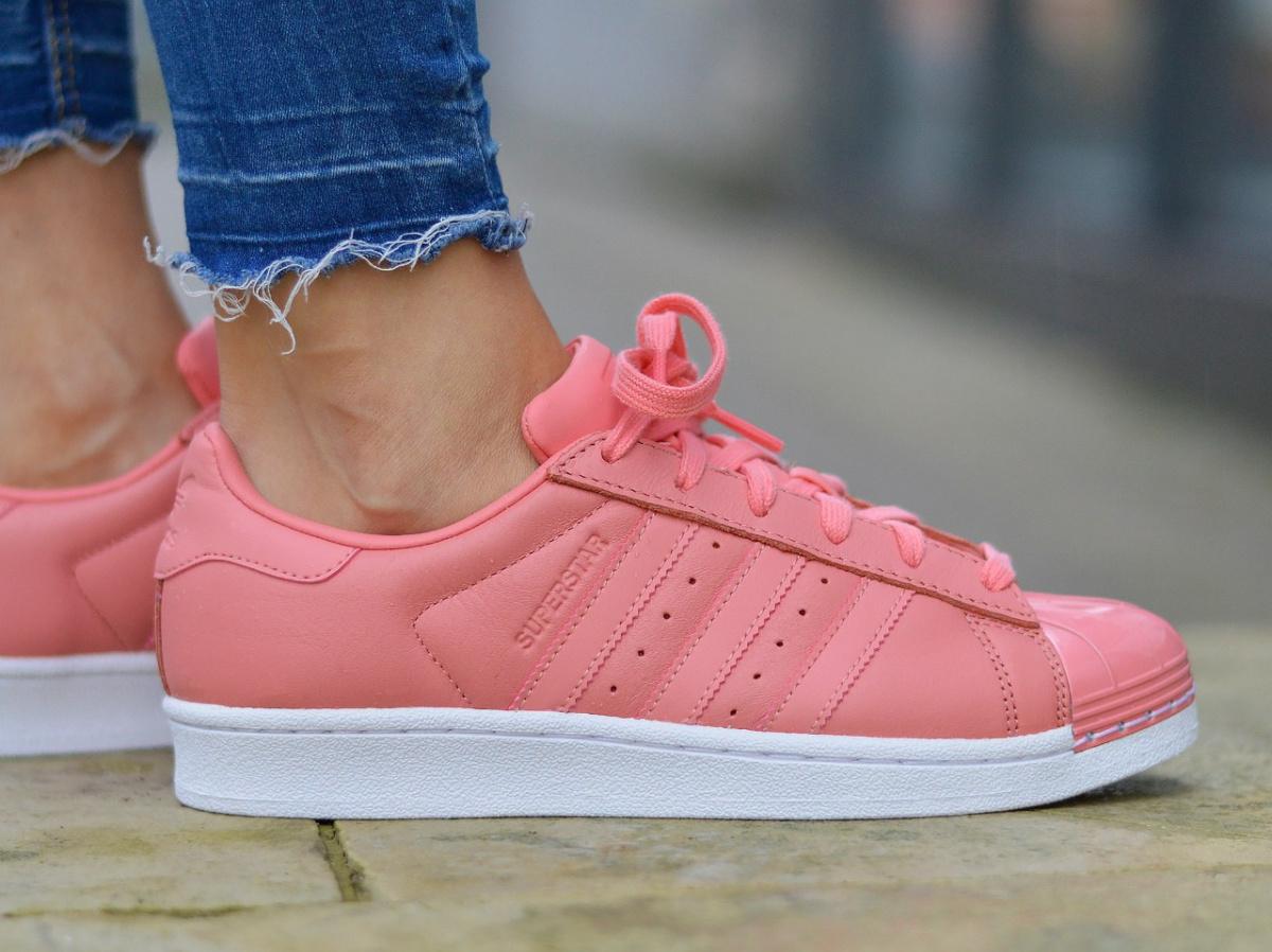 adidas superstar pink metal toe